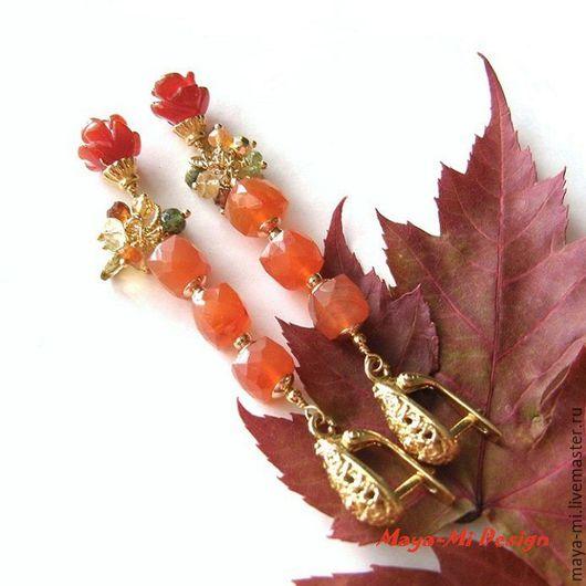 Серьги ручной работы. Ярмарка Мастеров - ручная работа. Купить РЫЖАЯ ОСЕНЬ, длинные серьги с сердоликом. Handmade. Рыжий