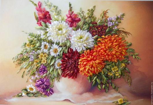 Картины цветов ручной работы. Ярмарка Мастеров - ручная работа. Купить Букет хризантем.. Handmade. Комбинированный, картина в подарок