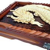 Сувениры и подарки handmade. Livemaster - original item Backgammon the Dragon, 60 x 60 cm, handmade.. Handmade.