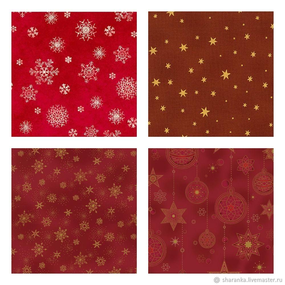 Cotton American new Year's red, Fabric, Ivanovo,  Фото №1