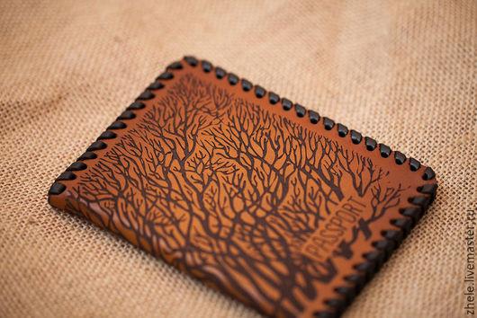 """Обложки ручной работы. Ярмарка Мастеров - ручная работа. Купить Обложка для паспорта """"Лес"""" из кожи. Handmade. Бежевый, обложка на паспорт"""