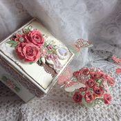 """Открытки ручной работы. Ярмарка Мастеров - ручная работа Открытка -коробочка с сюрпризом """" Яркие розы"""". Handmade."""