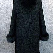 Одежда ручной работы. Ярмарка Мастеров - ручная работа Шуба из черного каракуля с отделкой из песца. Handmade.
