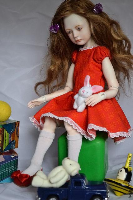 Коллекционные куклы ручной работы. Ярмарка Мастеров - ручная работа. Купить Сью 2. Handmade. Ярко-красный, фарфор