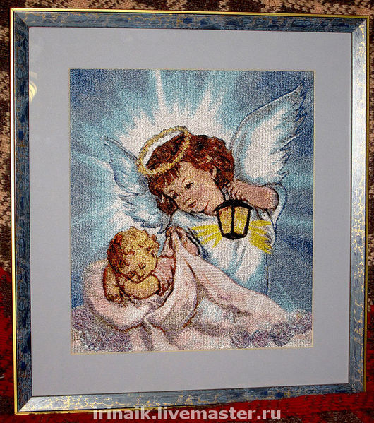 """Фантазийные сюжеты ручной работы. Ярмарка Мастеров - ручная работа. Купить Картина """"Ангел-хранитель"""". Handmade. Вышитая картина, вышивка"""