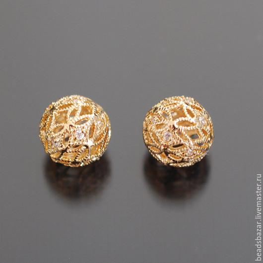 Для украшений ручной работы. Ярмарка Мастеров - ручная работа. Купить Бусина 10 мм ажурная с фианитами, золото. Handmade.