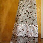 Одежда ручной работы. Ярмарка Мастеров - ручная работа Юбка лён хлопок шитьё Зайцевские розы длинная в пол. Handmade.