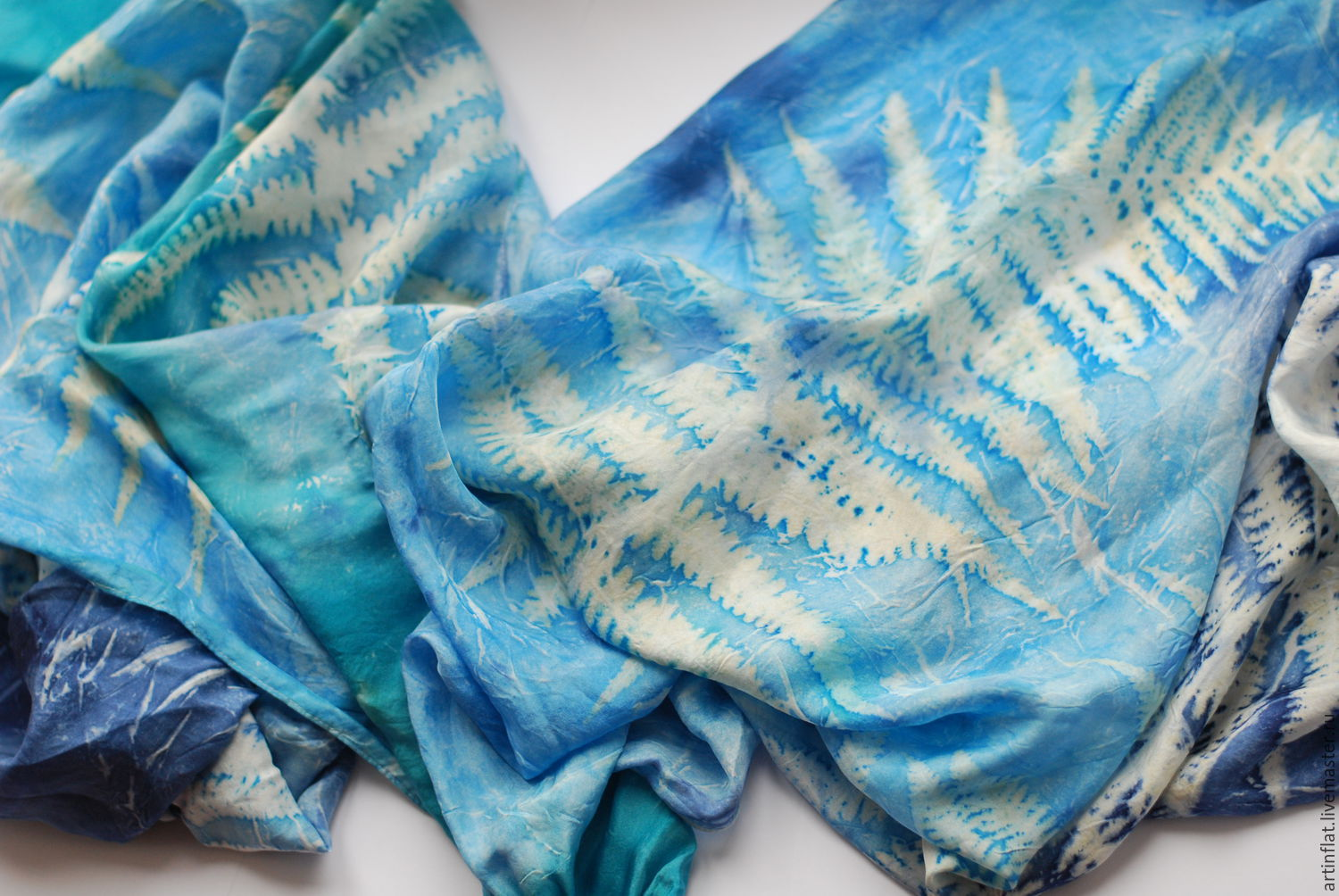 Tippet silk 'Caprice in shades of Indigo' prints fern, Wraps, Moscow,  Фото №1