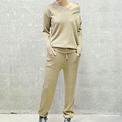 Одежда handmade. Livemaster - original item Cashmere suit knitted Gold serious. Handmade.