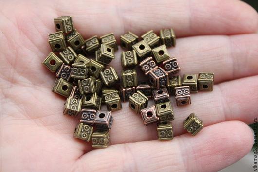Для украшений ручной работы. Ярмарка Мастеров - ручная работа. Купить Бусины металлические кубики, цвет бронза и медь, 5 мм. Handmade.