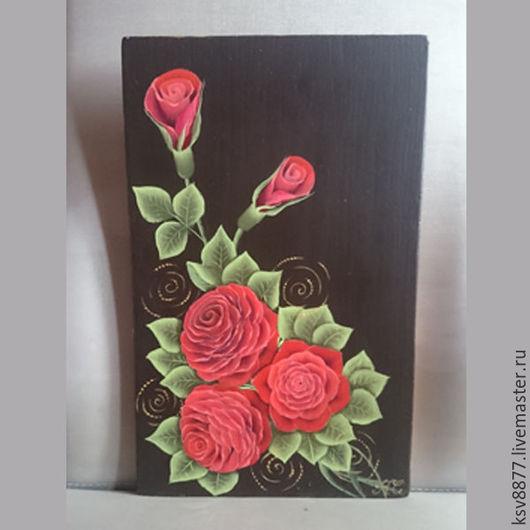 """Кухня ручной работы. Ярмарка Мастеров - ручная работа. Купить Разделочная доска """"Красные розы"""". Handmade. Купить разделочную доску"""