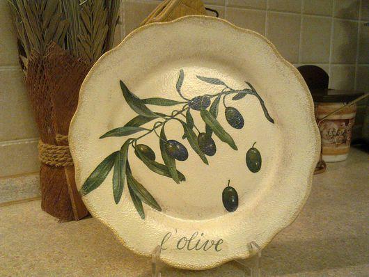Декоративная посуда ручной работы. Ярмарка Мастеров - ручная работа. Купить Тарелка настенная  Оливы. Handmade. Декоративная тарелка, посуда