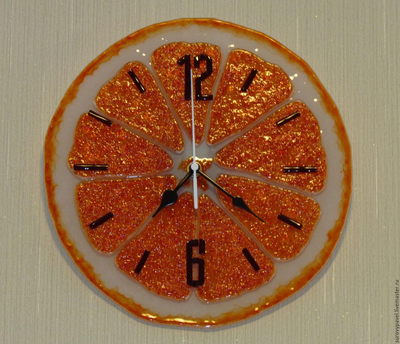 clock of fusing glass Orange, Watch, Tolyatti,  Фото №1