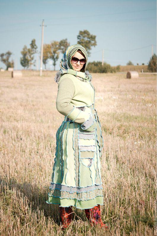 Кофты и свитера ручной работы. Ярмарка Мастеров - ручная работа. Купить Шерстяной салатовый свитер- пальто NS-6. Handmade.