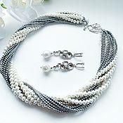 Украшения handmade. Livemaster - original item Necklace with hematite and natural pearls. Handmade.