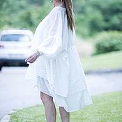 Одежда handmade. Livemaster - original item Summer white tunic boxy - TU0425CT. Handmade.