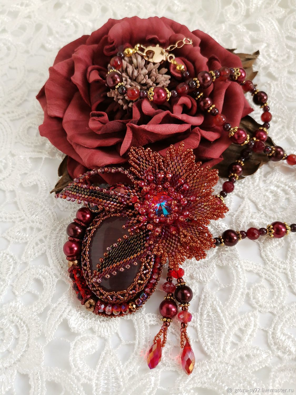 Brooch-transformer 'Scarlet flower', Brooches, Moscow,  Фото №1