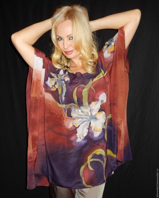 Блузки ручной работы. Ярмарка Мастеров - ручная работа. Купить блуза- Белые ирисы. Handmade. Коричневый, ирисы, женская одежда