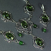 Украшения handmade. Livemaster - original item Gorgeous set with green amethyst and diopside. Handmade.