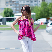Одежда handmade. Livemaster - original item Summer, bright linen blouse - TP0445LE. Handmade.
