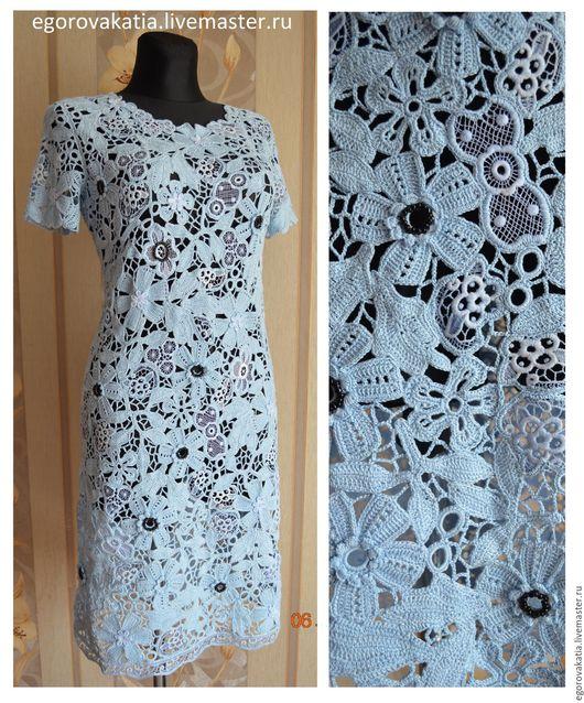 """Платья ручной работы. Ярмарка Мастеров - ручная работа. Купить платье - кружевное """"Лагуна"""". Handmade. Голубой, платье вязаное, ирландия"""