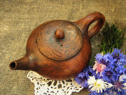 Чайники, кофейники ручной работы. Ярмарка Мастеров - ручная работа. Купить Чайник ручной лепки 550 мл.. Handmade. Рыжий