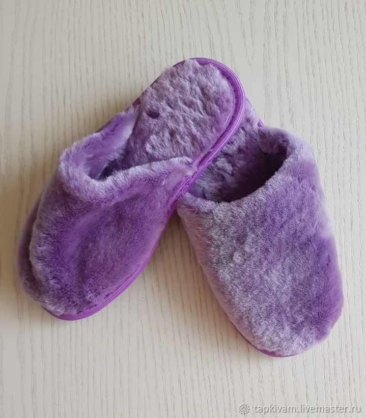 Sheepskin Slippers with a closed Cape women's lilac, Slippers, Moscow,  Фото №1