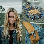 Украшения handmade. Livemaster - original item The Denim kit Necklace Bracelet and Earrings Unusual Blue Boho. Handmade.
