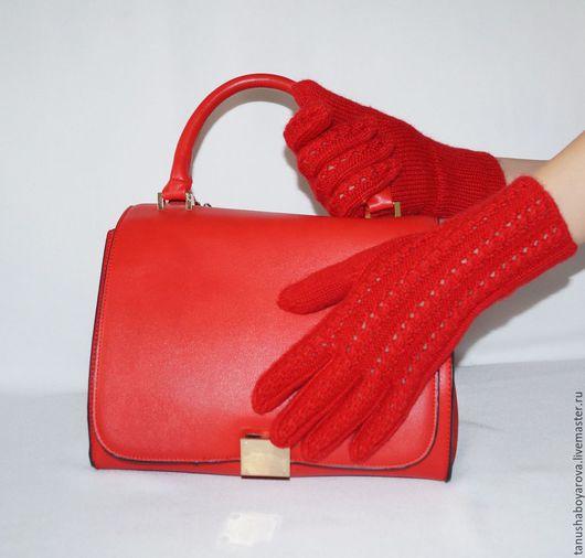 """Варежки, митенки, перчатки ручной работы. Ярмарка Мастеров - ручная работа. Купить Перчатки """" Красный коралл"""".. Handmade."""