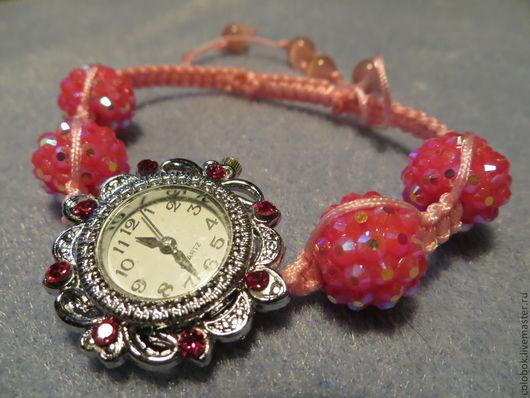 """Браслеты ручной работы. Ярмарка Мастеров - ручная работа. Купить Часы """"Гламурненькие"""". Handmade. Розовый, Бусины для браслета, розовый шнур"""