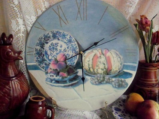 """Часы для дома ручной работы. Ярмарка Мастеров - ручная работа. Купить Клод Моне """"Натюрморт с дыней"""" , часы - репродукция. Handmade."""