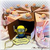 Подарки к праздникам ручной работы. Ярмарка Мастеров - ручная работа Торт клубнично-шоколадный с пожеланиями бумажный. Handmade.