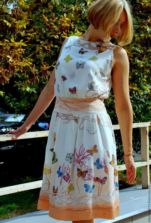 """Платья ручной работы. Ярмарка Мастеров - ручная работа. Купить Платье Батик """"Бабочки"""". Handmade. Белый, цветы, платье на лето"""