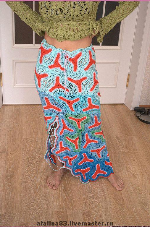 Юбки ручной работы. Ярмарка Мастеров - ручная работа. Купить юбка красное море. Handmade. Вязаная юбка, эксклюзивная работа