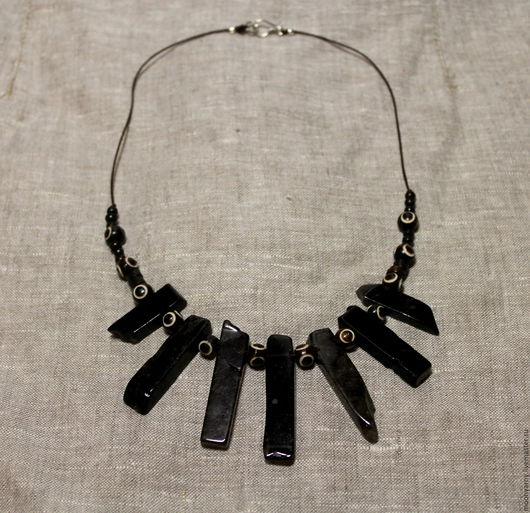 """Колье, бусы ручной работы. Ярмарка Мастеров - ручная работа. Купить Ожерелье """"Черная Луна"""". Handmade. Черный, морион, кварц"""