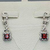 Украшения handmade. Livemaster - original item Silver earrings with garnets 5h5 mm and cubic zirconia. Handmade.