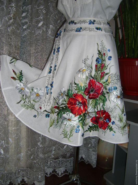 """Юбки ручной работы. Ярмарка Мастеров - ручная работа. Купить льняная юбочка """"ЦВЕТОЧНЫЙ ВАЛЬС""""""""ручная вышивка. Handmade. Белая юбка"""