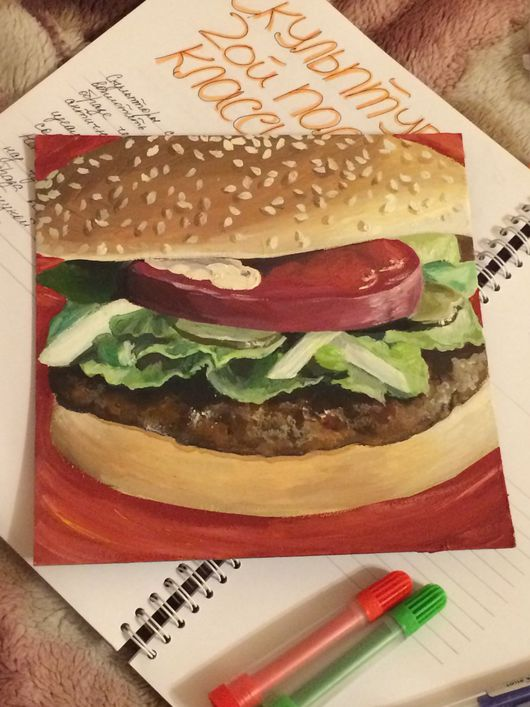 Натюрморт ручной работы. Ярмарка Мастеров - ручная работа. Купить Гамбургер. Handmade. Еда, грунтованный картон, лад