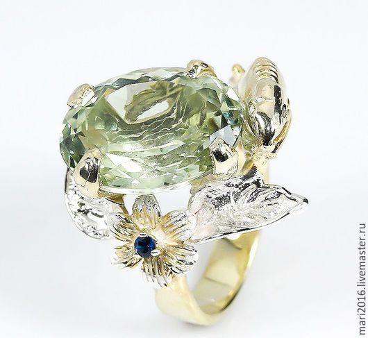 """Кольца ручной работы. Ярмарка Мастеров - ручная работа. Купить Красивое кольцо """" Стелла"""" с зеленым аметистом и сапфирами в серебре. Handmade."""