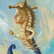 Картины и панно ручной работы. Ярмарка Мастеров - ручная работа Картина Колечко на память. Морской конёк. Handmade.