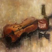 Картины и панно handmade. Livemaster - original item Oil painting in frame Violin, whisky, butterfly. Handmade.