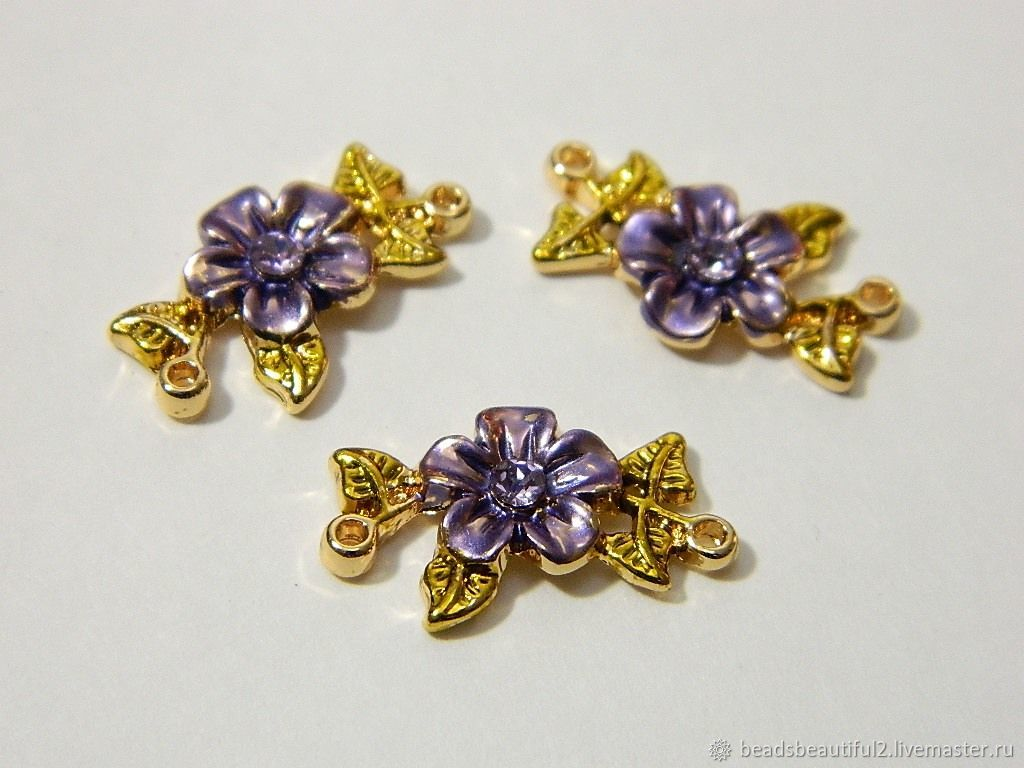 CONNECTOR FLOWER 'LAVENDER' rhodium-plated with zircon. for PCs, Beads1, Saratov,  Фото №1