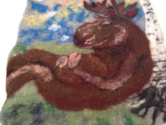 Животные ручной работы. Ярмарка Мастеров - ручная работа. Купить Валяная картина Спи моя радость для детской. Handmade.