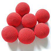 Бусины ручной работы. Ярмарка Мастеров - ручная работа Набор из 7 бусин, диаметр 33 мм, цв. красный. Handmade.