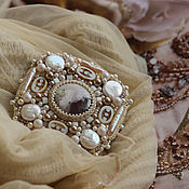 """Украшения handmade. Livemaster - original item """"White chocolate"""" - luxury brooch with pearls. Handmade."""