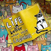 """Канцелярские товары ручной работы. Ярмарка Мастеров - ручная работа Обложка  """"Смешной кот"""". Handmade."""