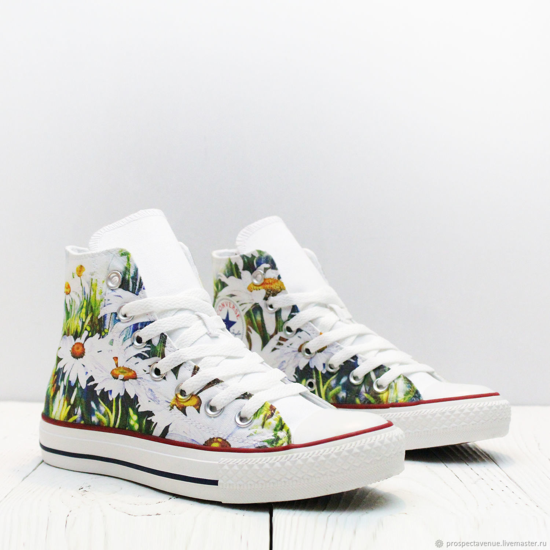 Обувь ручной работы. Ярмарка Мастеров - ручная работа. Купить Высокие кеды  Converse «Ромашки ... fb5ddc992f50c