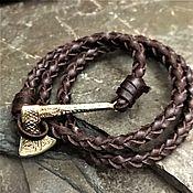 handmade. Livemaster - original item leather bracelet with axe. Handmade.