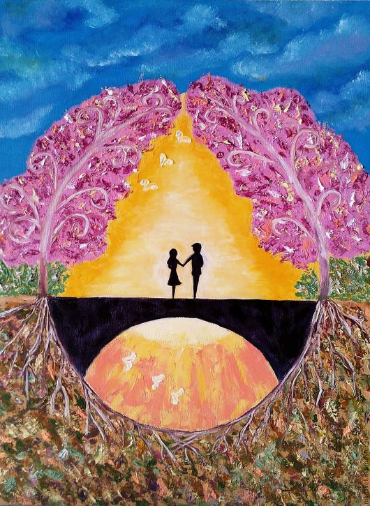 Символизм ручной работы. Ярмарка Мастеров - ручная работа. Купить Картина Счастливы вместе. Handmade. Желтый, гармония, голубой, нежность