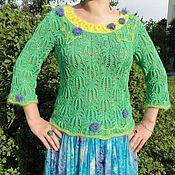 Одежда ручной работы. Ярмарка Мастеров - ручная работа Кофта шелковая Un bosque verde. Handmade.